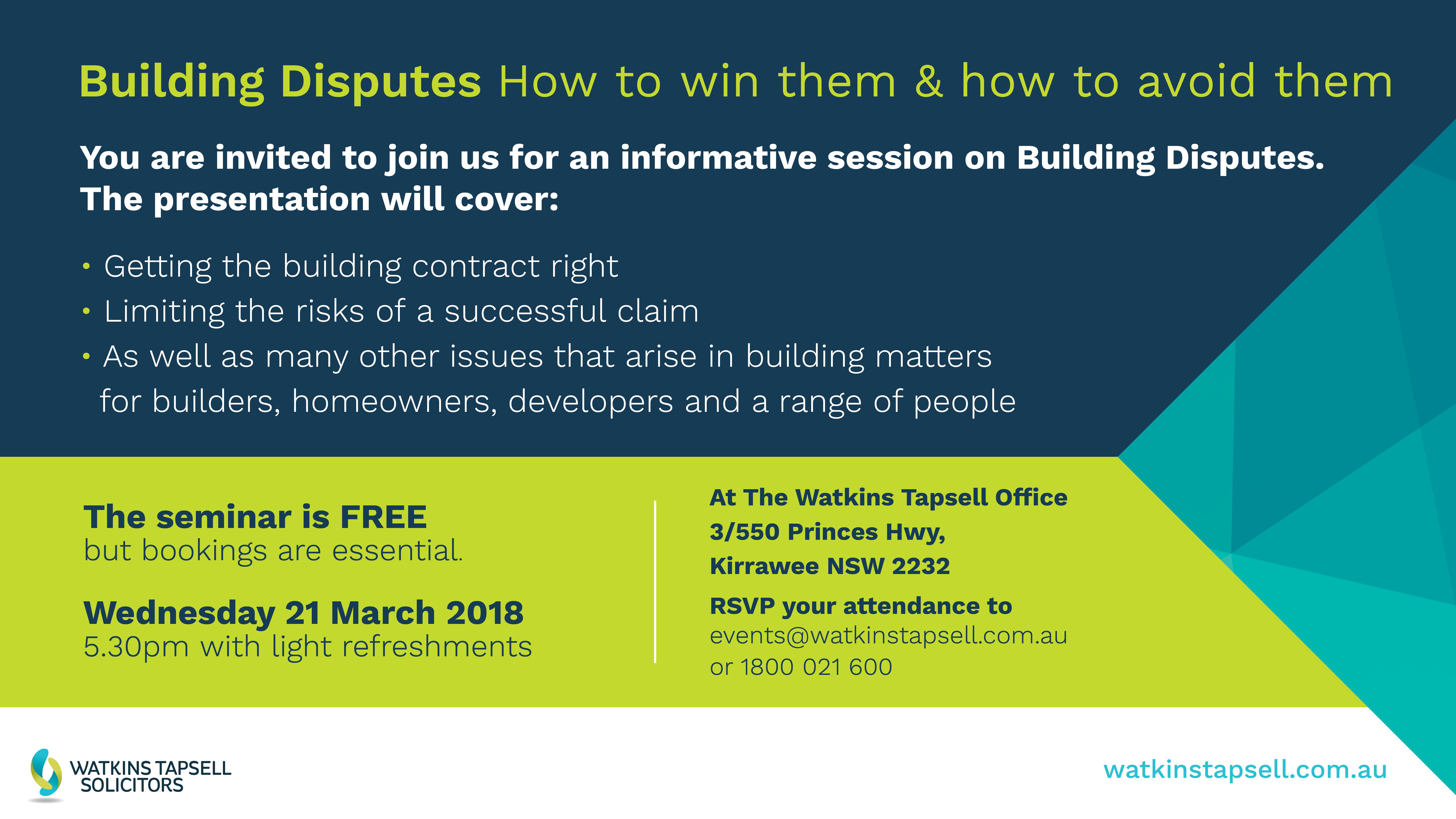 Building Disputes Information Session